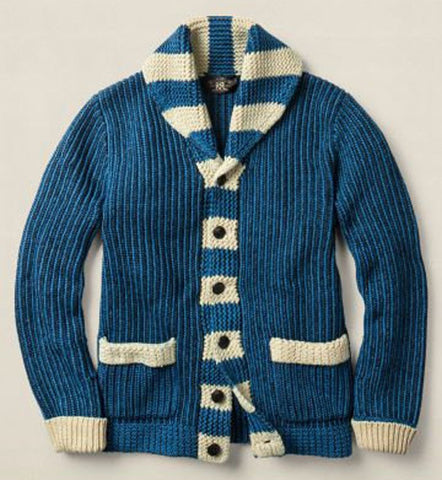 Mens hand knit wool cardigan 71A