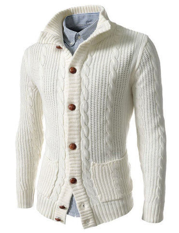 Men Hand Knit Wool Cardigan 66A - KnitWearMasters