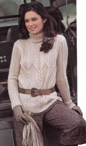 Womens Cable Knit Turtleneck Sweater 25K