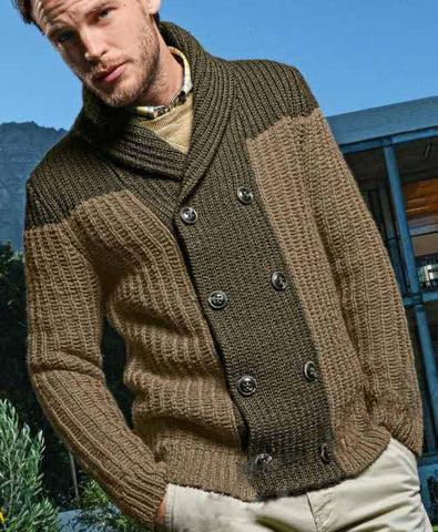 Mens hand knitted wool cardigan 65A