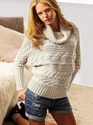 Women's Cable Knit Cowl Neck Sweater 2H - KnitWearMasters