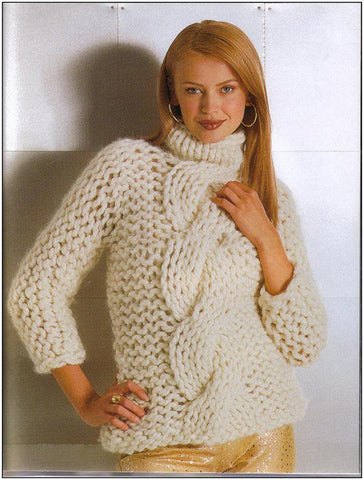 Womens Cable Knit Turtleneck Sweater 26K - KnitWearMasters