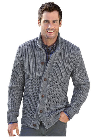 Mens hand knitted wool cardigan 64A
