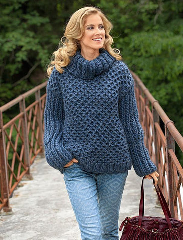 Women's Hand Knit Cowl Neck Sweater 6H - KnitWearMasters