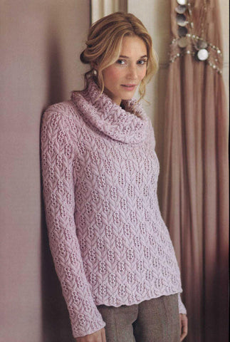 Women's Hand Knit Cowl Neck Sweater 22H - KnitWearMasters