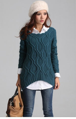 Womens Hand Knit Scoop Neck Sweater 4L - KnitWearMasters