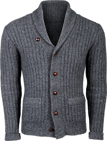 Mens hand knitted shawl collar cardigan 61A