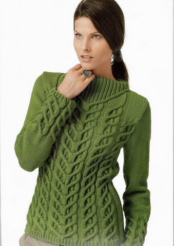 Women's Boatneck Cable Knit Sweater 18C - KnitWearMasters
