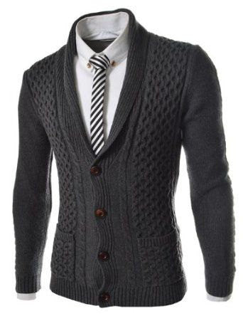 Mens hand knit shawl collar cardigan 56A