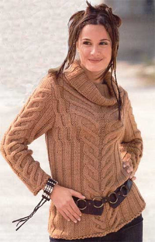 Women's Hand Knit Cowl Neck Sweater 4H