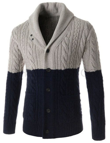 Men Hand Knit Shawl Collar Cardigan 52A - KnitWearMasters