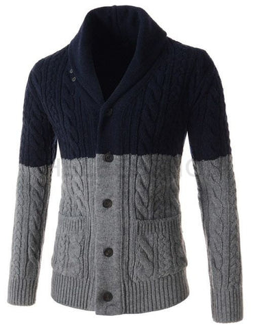 Mens knit shawl collar cardigan 51A - KnitWearMasters