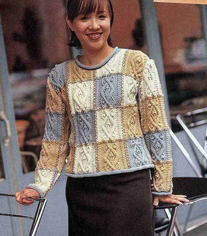 Womens Hand Knit Crew Neck Sweater 1G