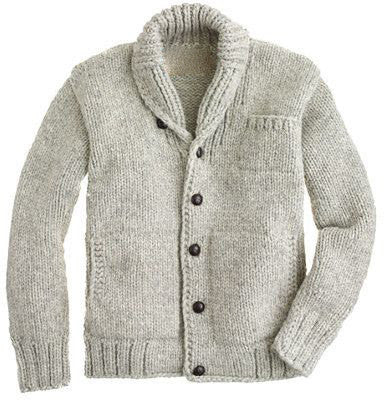 Men Hand Knit Shawl Collar Cardigan 47A