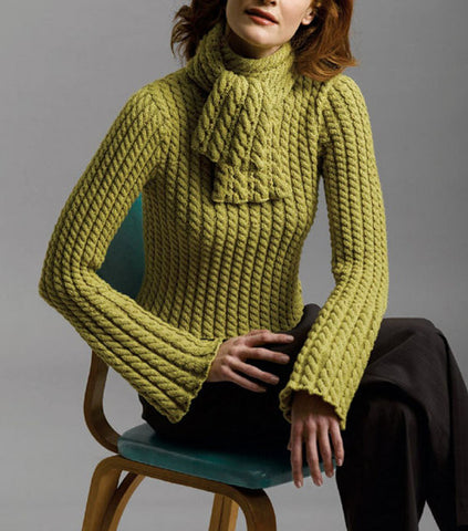 Womens Hand Knit Turtleneck Sweater and scarf 15K - KnitWearMasters