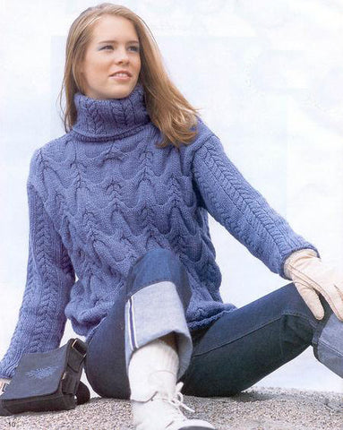 Womens Hand Knit Turtleneck Sweater 13K - KnitWearMasters