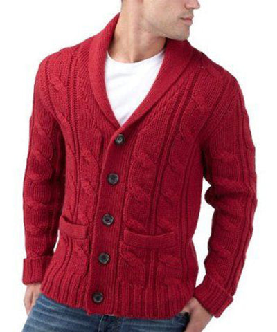 Men's Hand Knit Shawl Collar Cardigan 42A - KnitWearMasters