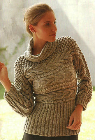Women's Hand Knitted Cowl Neck Sweater 1H - KnitWearMasters