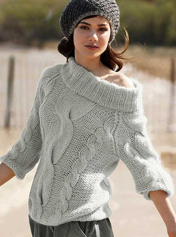 Women's Hand Knitted Boatneck Sweater 13C