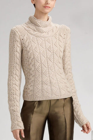 Women's Cable Knit Turtleneck Sweater 7K