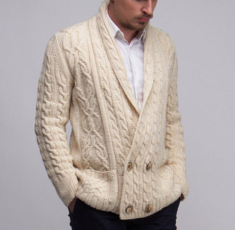 MEN HAND KNITTED DOUBLE BREASTED CARDIGAN 99A - KnitWearMasters