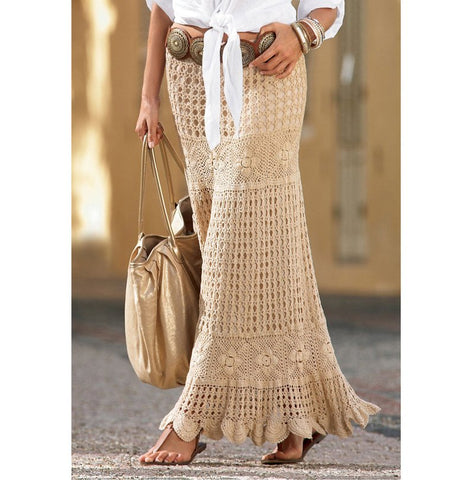 Made-to-order Women Crochet Maxi Skirt, 15S