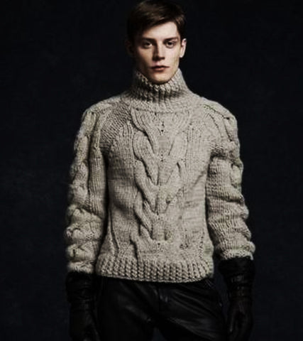 Men Hand Knit Turtleneck Sweater 255B