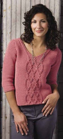 Women's Hand Knit V-neck Sweater 66J
