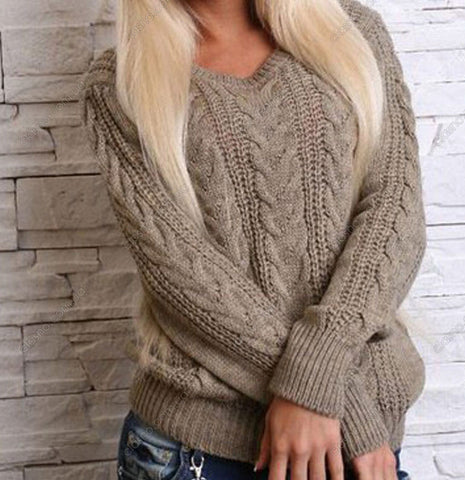 Women's Hand Knit V-neck Sweater 17J - KnitWearMasters