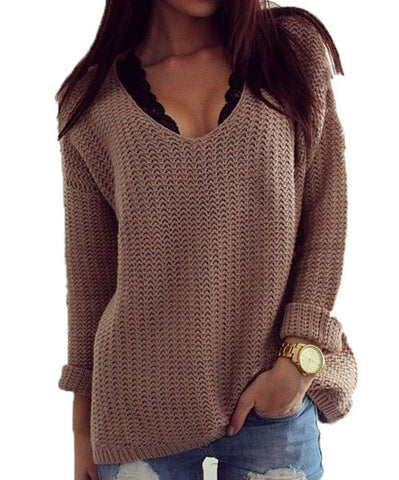 Women's Hand Knit V-neck Sweater 18J - KnitWearMasters