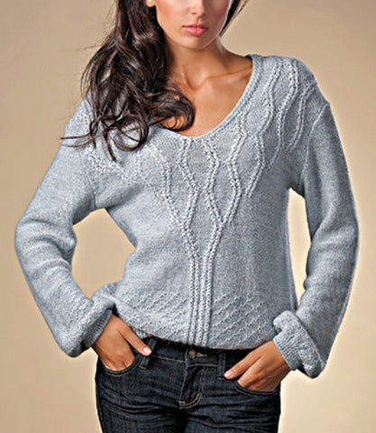 Women's Hand Knit V-neck Sweater 19J - KnitWearMasters