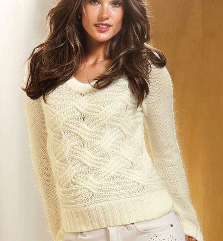 Women's Hand Knit V-neck Sweater 20J - KnitWearMasters