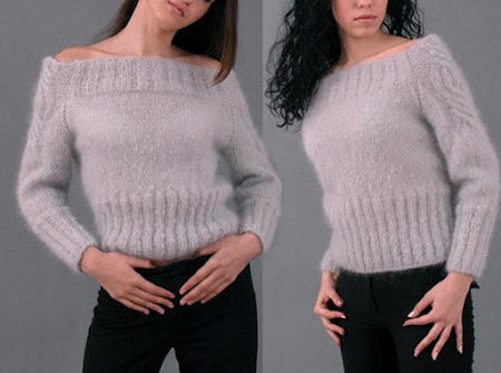 Womens Hand Knit Mohair Sweater 54G - KnitWearMasters