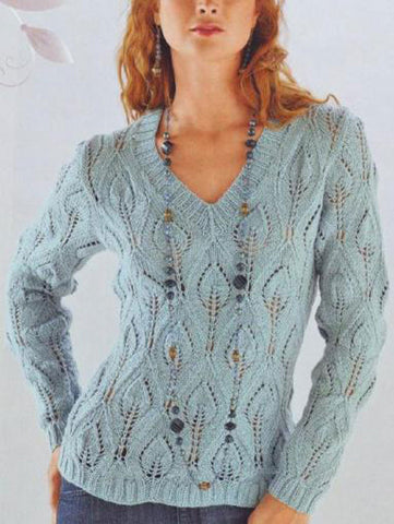 Women's Hand Knit V-neck Sweater 22J - KnitWearMasters