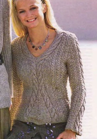 Women's Hand Knit V-neck Sweater 63J