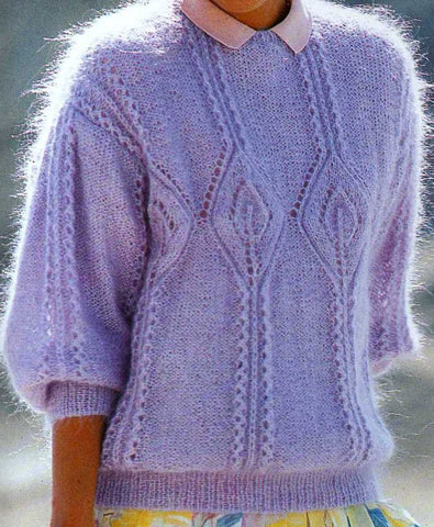 Womens Hand Knit Mohair Sweater 65G
