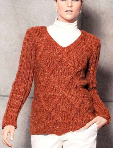 Women's Hand Knit V-neck Sweater 23J - KnitWearMasters