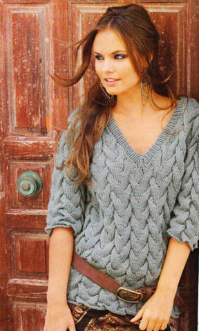 Women's Hand Knit V-neck Sweater 65J - KnitWearMasters