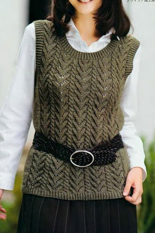 Womens Hand Knit Wool Vest 62N