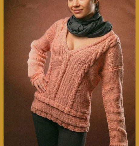Women's Hand Knit V-neck Sweater 70J