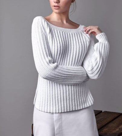 Women's Hand  Knit Boatneck Sweater 65C