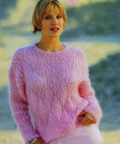 Womens Hand Knit Mohair Sweater 67G