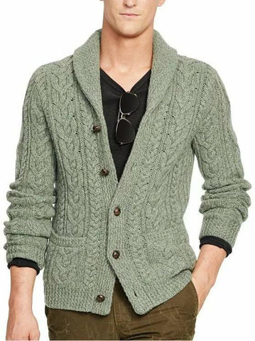 Men's Hand Knit Shawl Collar Cardigan 263A - KnitWearMasters