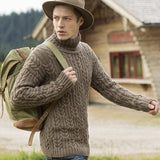 Men's Hand Knit Turtleneck Wool Sweater 92B - KnitWearMasters