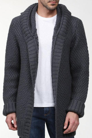 Men's hand knit Long cardigan 260A - KnitWearMasters