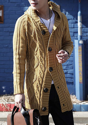 MENS HAND KNIT WOOL CARDIGAN 107A