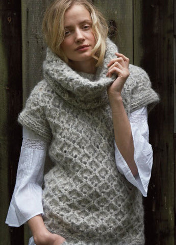 Women's Hand Knit Cowl Neck Sweater 65H