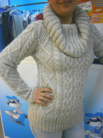 Women's Hand Knit Cowl Neck Sweater 66H - KnitWearMasters