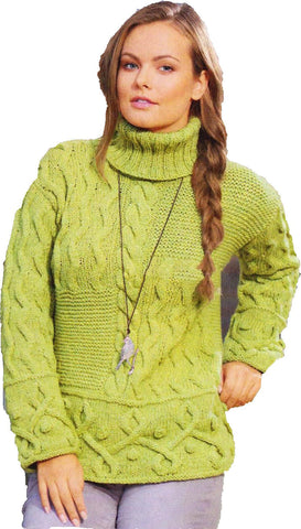 Women's Hand Knit Cowl Neck Sweater 64H - KnitWearMasters