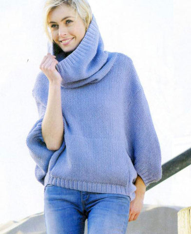 Women's Hand Knit Cowl Neck Sweater 67H - KnitWearMasters